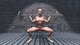 chiffre 3D masculin dans la pose de posture accroupie de barbell dans l'intérieur grunge illustration libre de droits