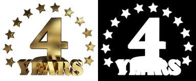 Chiffre d'or quatre et le mot de l'année, décoré des étoiles illustration 3D Photographie stock libre de droits
