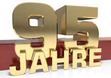 Chiffre d'or quatre-vingt-quinze et le mot de l'année Traduit de l'Allemand - années illustration 3D illustration de vecteur