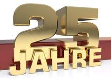 Chiffre d'or vingt-cinq et le mot de l'année Traduit de l'Allemand - années illustration 3D illustration stock