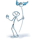 Chiffre de bâton avec l'oiseau sur un bâton Image libre de droits