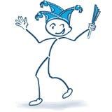 Chiffre de bâton avec le chapeau de carnaval et le carnaval illustration libre de droits