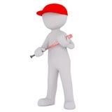 Chiffre de bande dessinée dans le chapeau et la batte de baseball rouges de se tenir illustration libre de droits