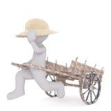 Chiffre de bande dessinée en Straw Hat Running avec le chariot en bois illustration libre de droits