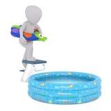 Chiffre de bande dessinée sur le conseil de plongée au-dessus de la piscine de Kiddie Images libres de droits