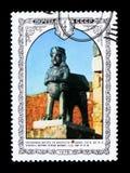 Chiffre de bronze de monument de timbre-poste de l'URSS Russie, forteresse Erebuni, Arménie, le ` arménien d'architecture de ` de Photos stock