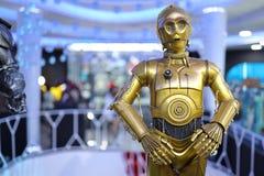Chiffre de C-3PO du Star Wars modèle sur l'affichage photos libres de droits
