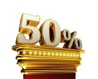 Chiffre de cinquante pour cent au-dessus du fond blanc Photo stock
