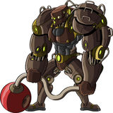 Chiffre de dessin animé d'un robot puissant Images libres de droits