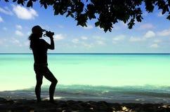 Chiffre de Madame avec le fond de paysage marin. Images stock