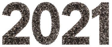 Chiffre 2021 de noir un charbon de bois naturel, d'isolement sur le Ba blanc Image stock