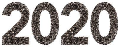Chiffre 2020 de noir un charbon de bois naturel, d'isolement sur le Ba blanc Photographie stock libre de droits