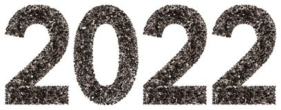 Chiffre 2022 de noir un charbon de bois naturel, d'isolement sur le Ba blanc Photo stock
