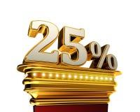 Chiffre de vingt-cinq pour cent au-dessus du fond blanc Images stock
