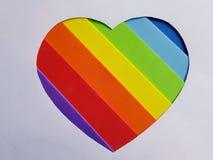 chiffre en forme de coeur avec mousseux à l'arrière-plan de couleur d'arc-en-ciel et blanc Images libres de droits