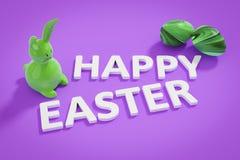 Chiffre et texte heureux de lapin de Pâques Photographie stock libre de droits
