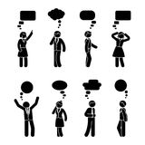 Chiffre gens d'affaires de bâton de la parole d'ensemble de bulle illustration libre de droits