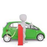 Chiffre heureux de bande dessinée rechargeant la voiture électrique illustration stock