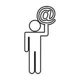Chiffre humain avec l'icône d'isolement par symbole d'arroba Photos stock
