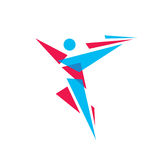 Chiffre humain d'abrégé sur caractère - dirigez l'illustration de concept de calibre de logo signe de personnes Symbole de sport  Images stock
