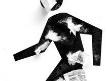 Chiffre humain symbolique couvert de papiers Image stock