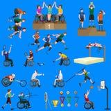 Chiffre icônes de bâton de jeux de sport d'handicap de débronchement de pictogramme Images stock