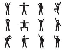Chiffre icônes de bâton de posture Image stock