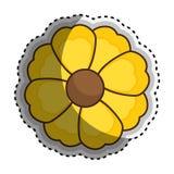 Chiffre jaune icône de silhouette d'autocollant de fleur florale Images stock