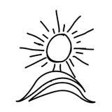 chiffre le soleil de peinture avec l'icône de montagne Photos stock