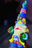 Chiffre lumineux de Santa Claus avec une cloche Photos libres de droits