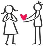 Chiffre noir et blanc simple homme de bâton donnant à amour le coeur rouge à la femme, jour du ` s de mère, déclaration de l'amou Images stock