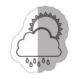 chiffre nuage rainning avec l'icône du soleil Photographie stock libre de droits