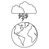 chiffre planète de la terre avec l'icône de rayon de nuage Photographie stock