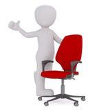 Chiffre positif de bande dessinée avec la chaise rouge de bureau illustration stock
