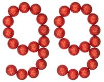 Chiffre 99, quatre-vingt-dix-neuf, des boules décoratives, d'isolement sur le petit morceau Photo stock