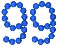 Chiffre 99, quatre-vingt-dix-neuf, des boules décoratives, d'isolement sur le petit morceau Image libre de droits