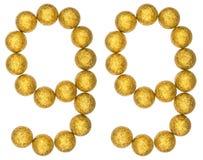 Chiffre 99, quatre-vingt-dix-neuf, des boules décoratives, d'isolement sur le petit morceau Images libres de droits