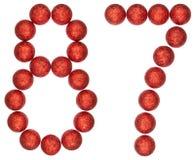 Chiffre 87, quatre-vingt-sept, des boules décoratives, d'isolement sur le whi Images stock