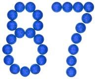 Chiffre 87, quatre-vingt-sept, des boules décoratives, d'isolement sur le whi Image libre de droits
