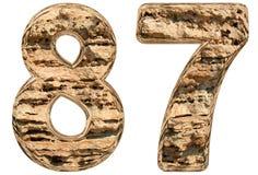 Chiffre 87, quatre-vingt-sept, sur le blanc, chaux naturelle, Image stock