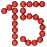 Chiffre 15, quinze, des boules décoratives, d'isolement sur le Ba blanc Image stock