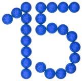 Chiffre 15, quinze, des boules décoratives, d'isolement sur le Ba blanc Photos stock