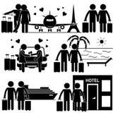 Chiffre romantique de bâton de vacances de couples illustration de vecteur
