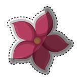 Chiffre rose icône de silhouette d'autocollant de fleur florale Images libres de droits