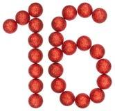 Chiffre 16, seize, des boules décoratives, d'isolement sur le Ba blanc Photos stock