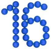 Chiffre 16, seize, des boules décoratives, d'isolement sur le Ba blanc Photographie stock libre de droits
