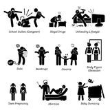 Chiffre social icônes de bâton de questions de la jeunesse de pictogramme illustration libre de droits
