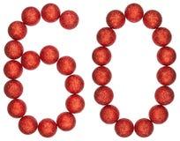 Chiffre 60, soixante, des boules décoratives, d'isolement sur le dos de blanc Photo libre de droits