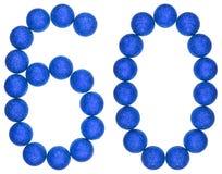 Chiffre 60, soixante, des boules décoratives, d'isolement sur le dos de blanc Images stock