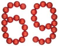 Chiffre 69, soixante-neuf, des boules décoratives, d'isolement sur le blanc Photo stock
